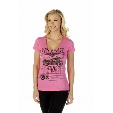 T-shirt - Pink Vintage Ride Women - Liberty Wear