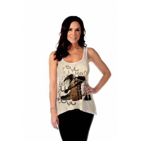 Tank Top - Beige Cowboy Boots Women - Liberty Wear