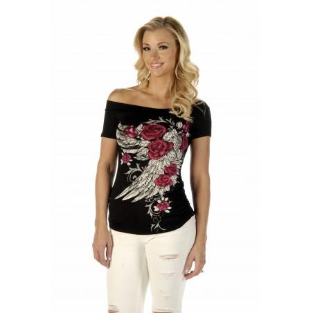Top - Black Blossomed Elegance Women - Liberty Wear