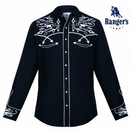Vintage Western Shirt - Black Embroidered Men - Ranger's