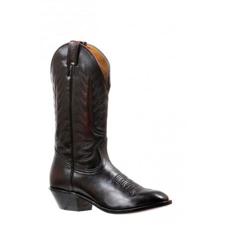 Cowboy Boots - Cowhide Black Cherry Dress Toe Men - Boulet Boots