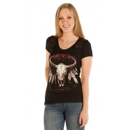 T-shirt - Black Studded Steer Skull Women - Liberty Wear