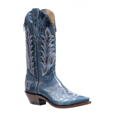 Cowgirl Boots - Cowhide Blue Snip Toe Women - Boulet Boots
