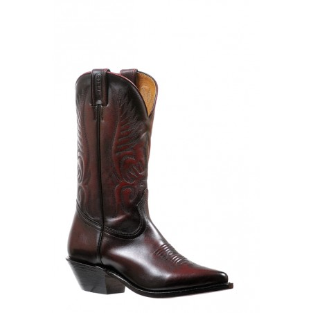 Cowgirl Boots - Cowhide Black Cherry Snip Toe Women - Boulet Boots