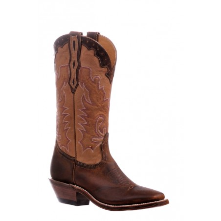 Cowgirl Boots - Cowhide Brown Square Toe Women - Boulet Boots