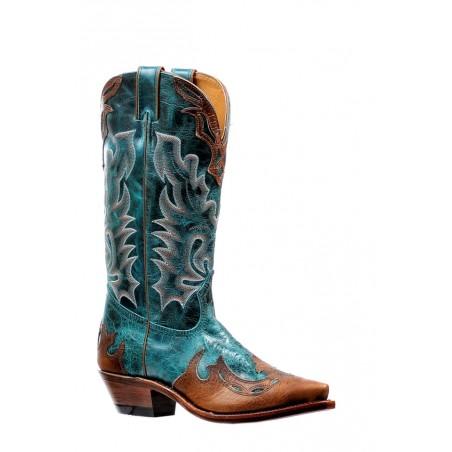 Santiags - Cuir Vachette Turquoise Bout Pointu Femme - Boulet Boots