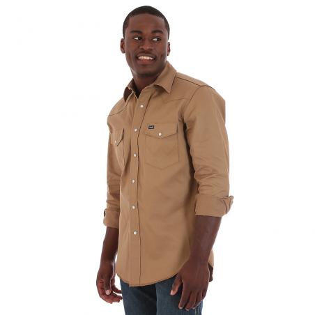 Work Shirt - Solid Beige Cowboy Cut Firm Western Snap Men - Wrangler
