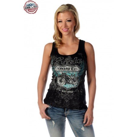 Tank Top - Cotton Black Ride Route 66 Women - Liberty Wear