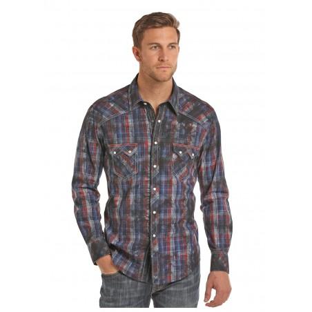 Western Shirt - Indigo Plaid Spray Wash Yarndye Men - Rock&Roll Cowboy