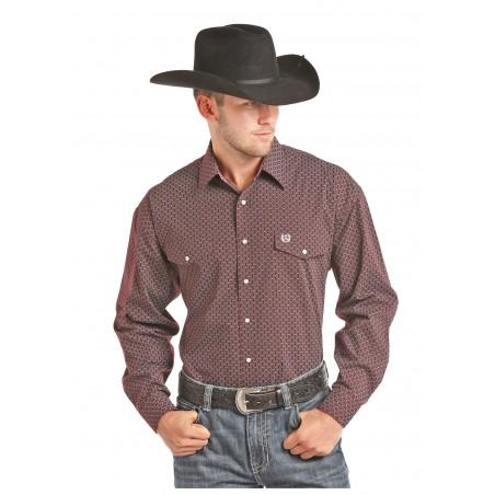 Western Shirt - Burgundy Peached Poplin Print Men - Panhandle