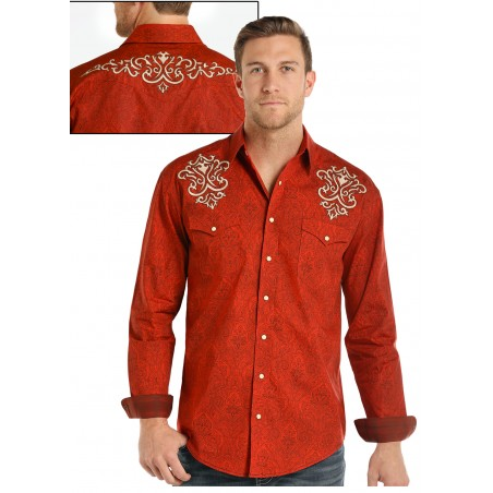 Western Shirt - Orange Honore Vintage Print Men - Panhandle