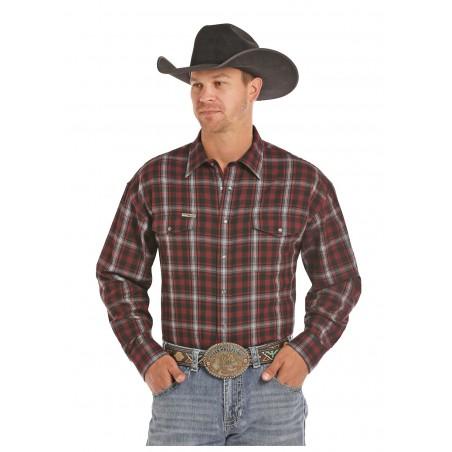 Flannel Shirt Big Size - Burgundy Bandera Brushed Twill Weave Men - Powder River