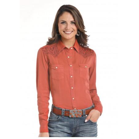 Western Shirt - Tencel Solid Orange Embroidered Women - Panhandle