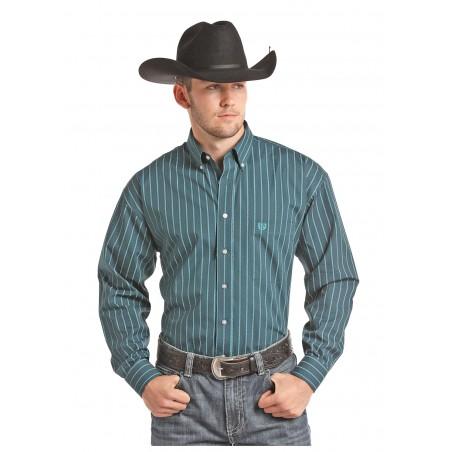 Western Shirt - Turquoise Stripe Men - Panhandle