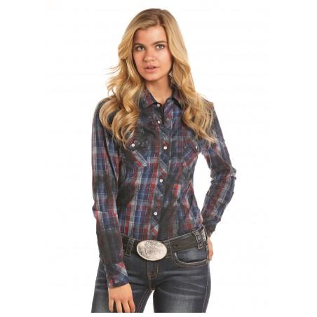 Western Shirt - Indigo Plaid Women - Rock&Roll Cowgirl