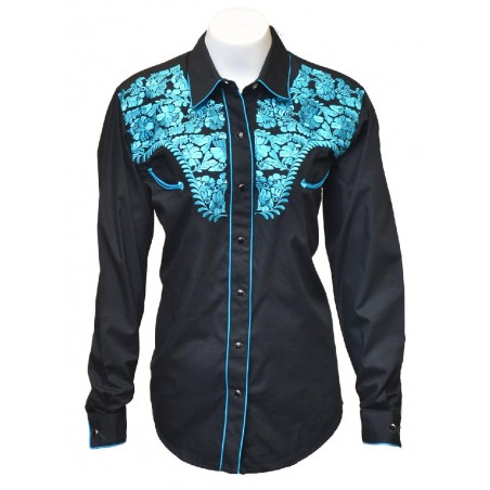 Vintage Western Shirt - Black Tooled Blue Embroidery Women - Western Express