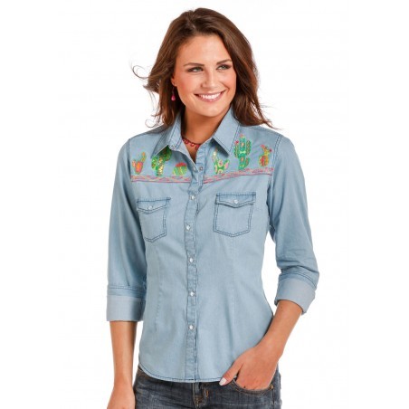 Western Shirt - Light Blue Denim Cactus Embroidery Women - Panhandle