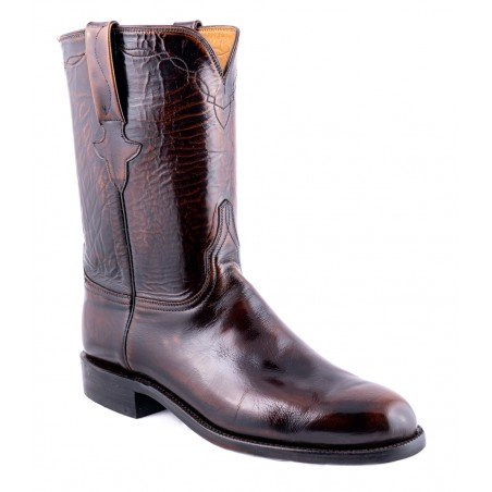 Roper Boots - Goat Leather Brown Round Toe Men - Lucchese Boots Classics