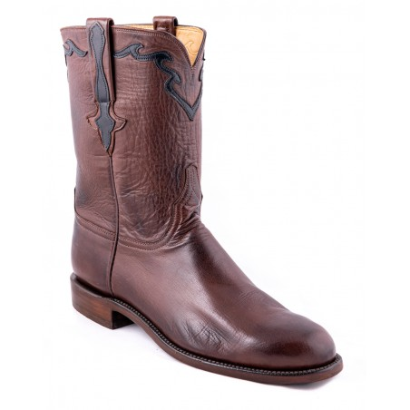 Roper Boots - Baby Buffalo Leather Brown Round Toe Men - Lucchese Boots Classics