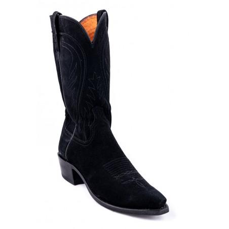 Cowboy Boots - Lamb Suede Black Snip Toe Men - Lucchese Boots