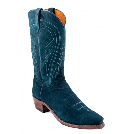Cowboy Boots - Lamb Suede Green Snip Toe Men - Lucchese Boots