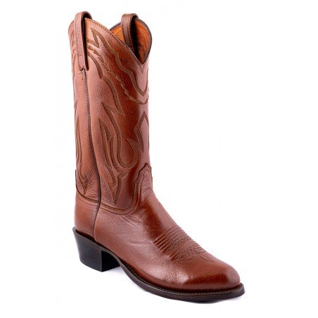 Cowboy Boots - Lamb Leather Brown Round Toe Men - Lucchese Boots -