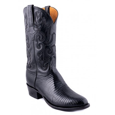 Cowboy Boots - Genuine Lizard Leather Black Round Toe Men - Lucchese Boots Classics