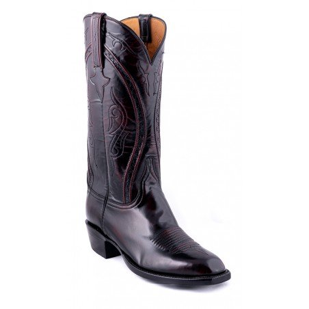 Cowboy Boots - Goat Leather Black Cherry Dress Toe Men - Lucchese Boots Classics