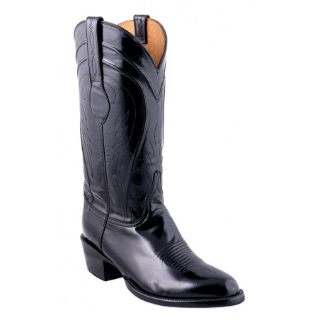 Cowboy Boots - Goat Leather Black Round Toe Men - Lucchese Boots Classics
