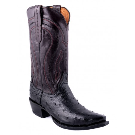Cowboy Boots - Ostrich Leather Black Burgundy Snip Toe Men - Lucchese Boots