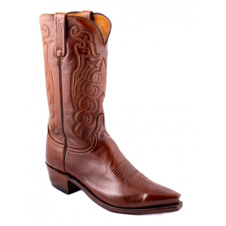 Cowboy Boots - Lamb Leather Brown Snip Toe Men - Lucchese Boots