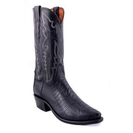 Cowboy Boots - Ostrich Foot Leather Black Snip Toe Men - Lucchese Boots