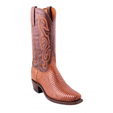 Cowboy Boots - Genuine Lizard Leather Brown Square toe Men - Lucchese Boots