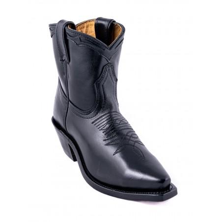 Bottines Western - Cuir Vachette Noire Bout Pointu Femme - Boulet Boots