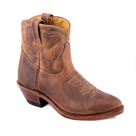 Low Boots - Cowhide Brown Round Toe Femme - Boulet Boots