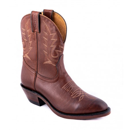 Mid Calf Boots - Cowhide Brown Round Toe Women - Boulet Boots