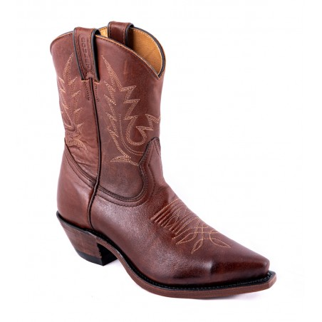 Mid Calf Boots - Cowhide Brown Snip Toe Women - Boulet Boots