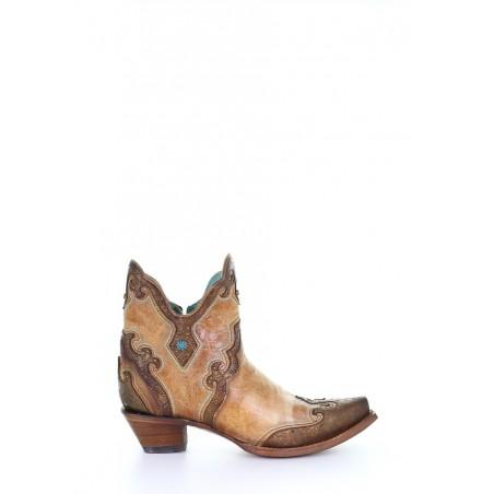 Bottines Urban - Cuir Vachette Camel Bout Pointu - Corral Boots
