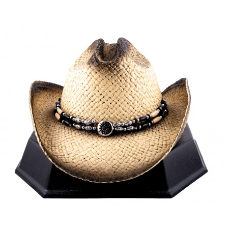 Cowboy Hat - Beaded Straw Natural Unisex - Western Express