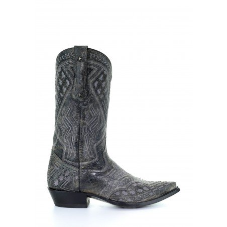 Cowboy Boots - Cowhide Grey Embroidery Snip Toe Men - Corral Boots