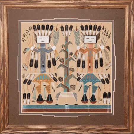 Sandpainting - 2 Kachinas - Native American Art