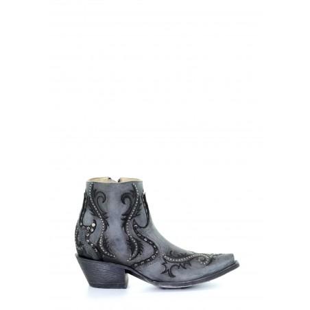 Bottines Urban - Cuir Vachette Grise Bout Pointu - Corral Boots
