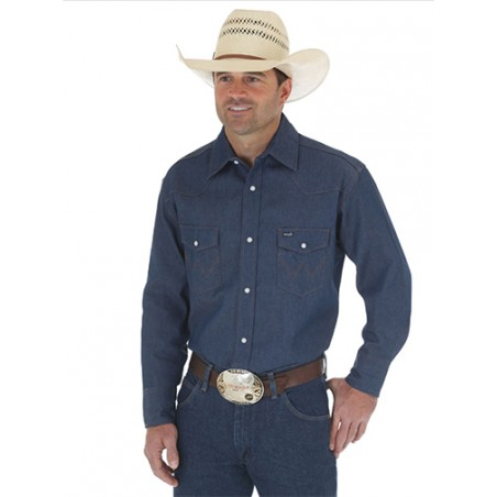 Work Shirt Big Size - Blue Rigid Denim Cowboy Cut Men - Wrangler