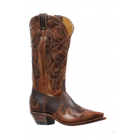 Cowboy Boots - Cowhide Brown Snip Toe Men - Boulet Boots