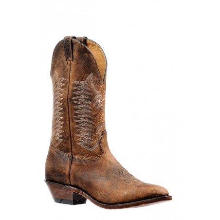 Cowboy Boots - Bison Leather Brown Round Toe Men - Boulet Boots