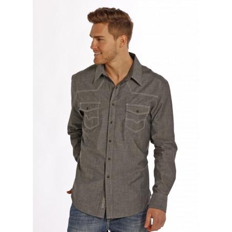 Western Shirt - Grey Striated Solid Chambray Men - Rock&Roll Cowboy