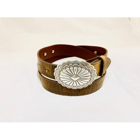 Belt - Smooth Cowhide Brown Conchos Unisex - Texas Leather