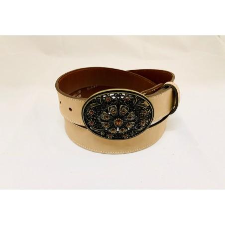 Belt - Smooth Cowhide Beige Unisex - Texas Leather