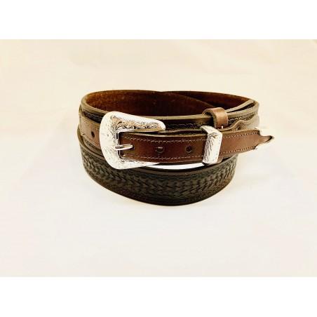 Ranger Belt - Cowhide Brown Basket Unisex - Texas Leather