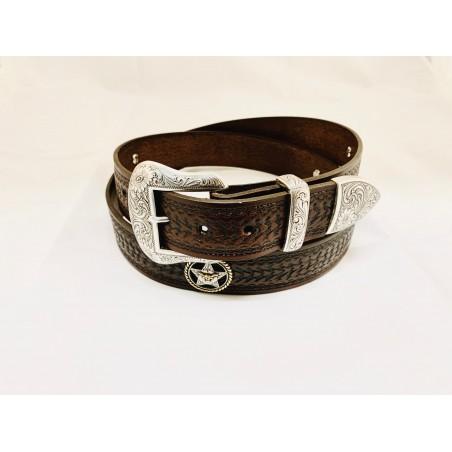 Belt - Cowhide Brown Texas Ranger Longhorn Unisex - Texas Leather